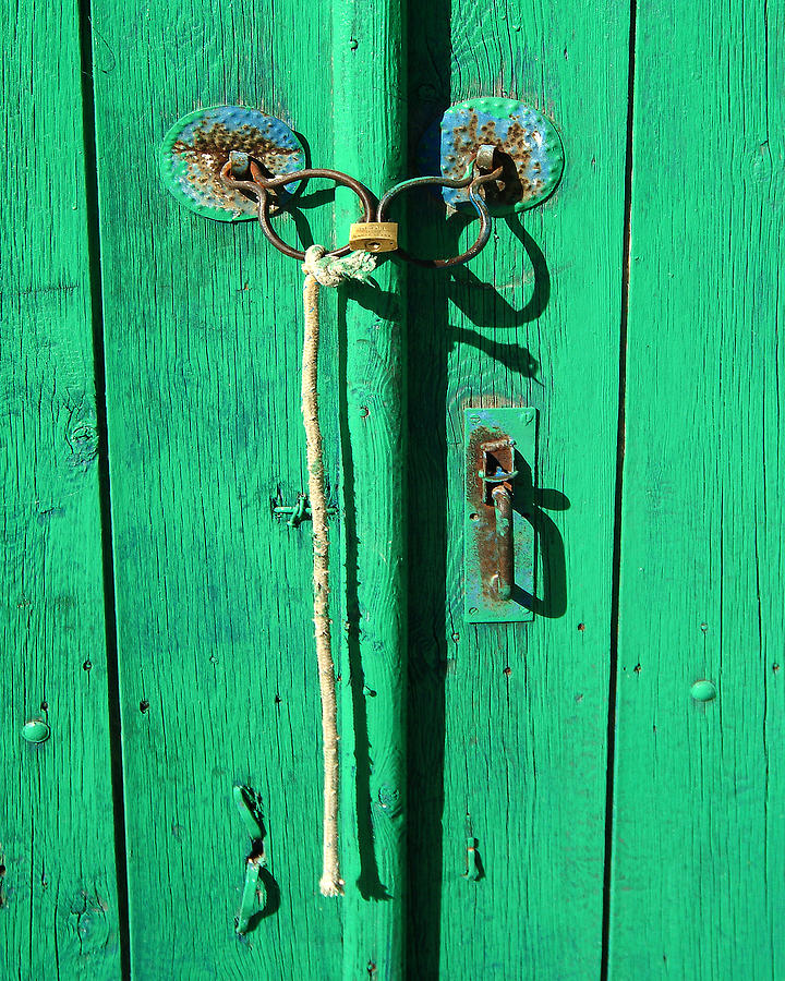 Green Photograph - Green Door With Spectacles by Donald Buchanan
