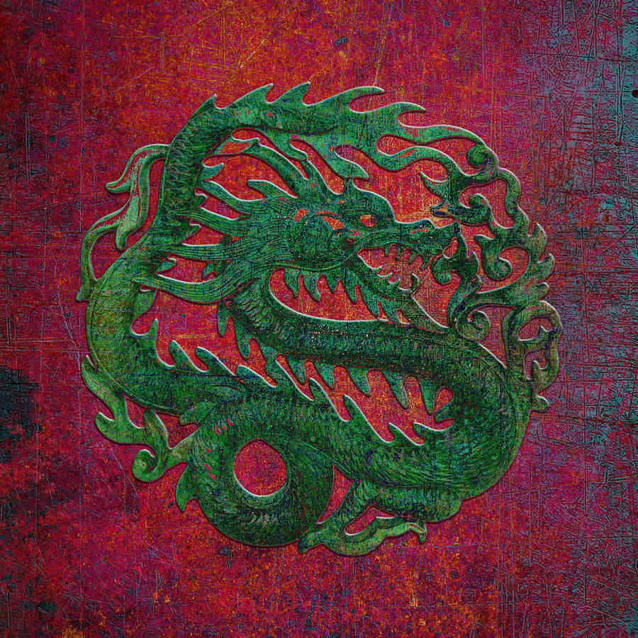 Green Dragon Carving on a Red and Purple Background by Fred Bertheas