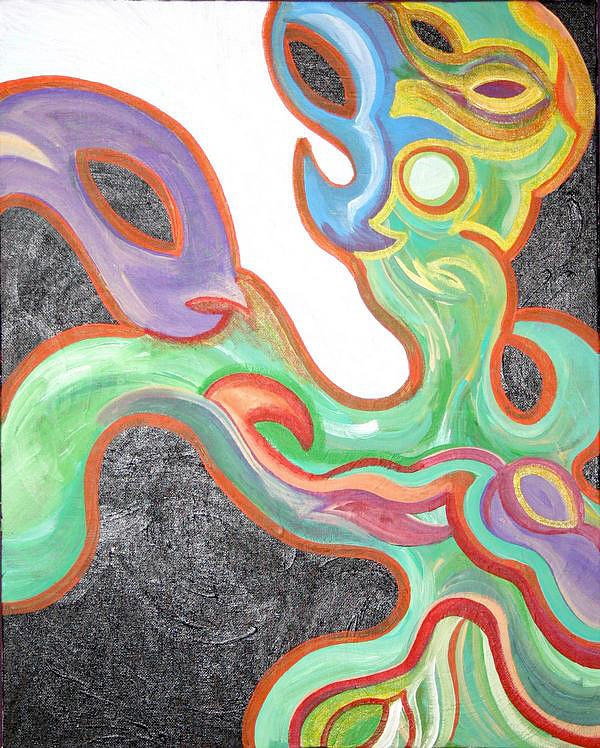 Abstract Painting - Green Dragon by Jessica Kauffman