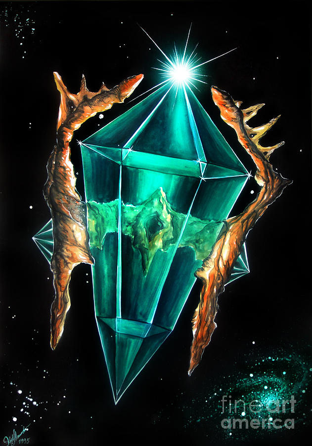 Green emerald crystal in space painting by sofia metal queen for Paintings of crystals