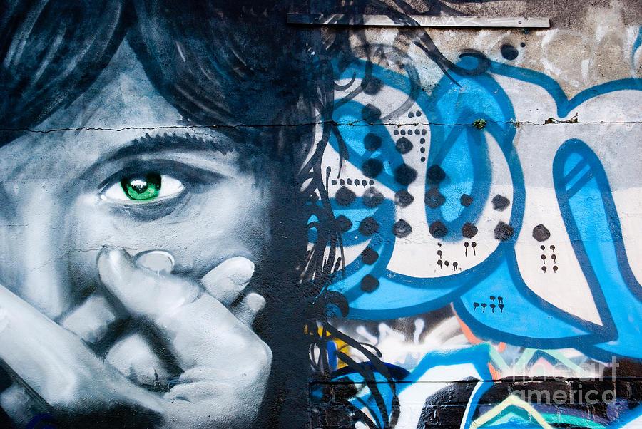 Green Eye Graffiti Girl On The Brick Wall By Yurix Sardinelly