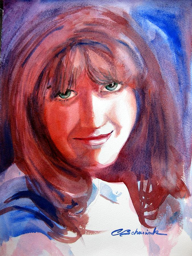 Portrait Painting - Green Eyed Lady by Cynthia Schanink