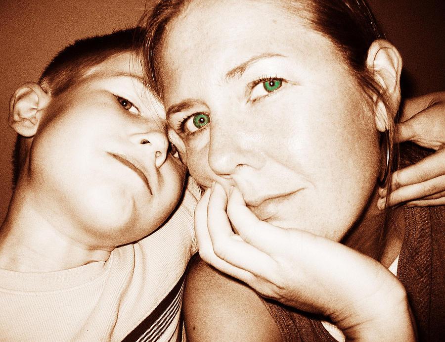 Green Photograph - Green Eyed Mom by Alan Espasandin