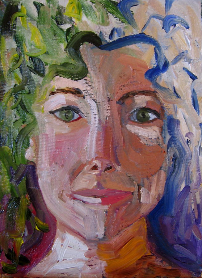 Figurative Painting - Green-eyed Woman by Debi McSwain