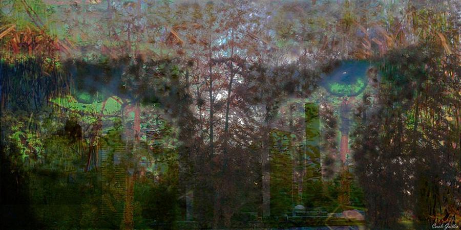 Tree Digital Art - Green Eyes Reflections by Carole Guillen