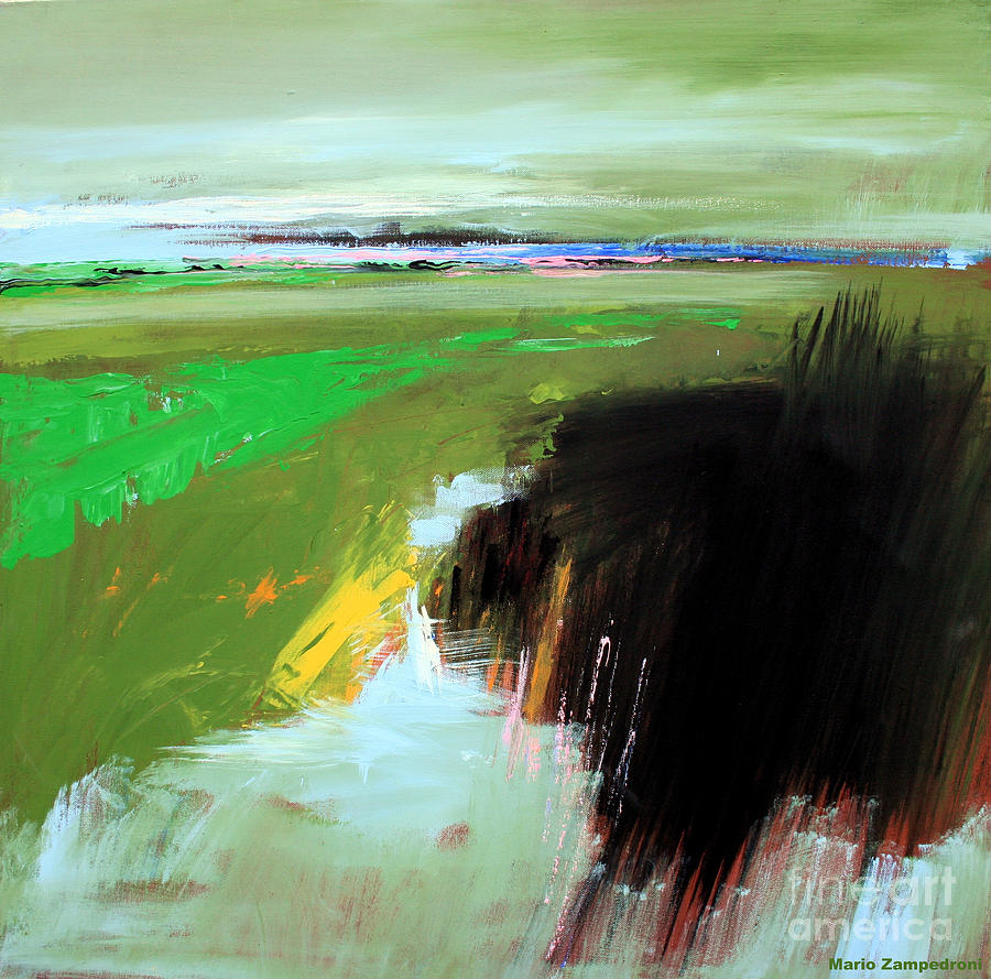 Abstract Landscape Painting - Green Field by Mario Zampedroni