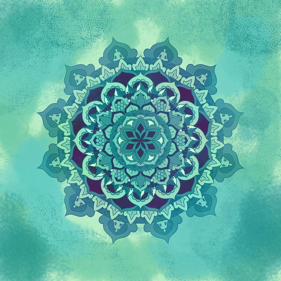Green Floral Mandala Digital Art