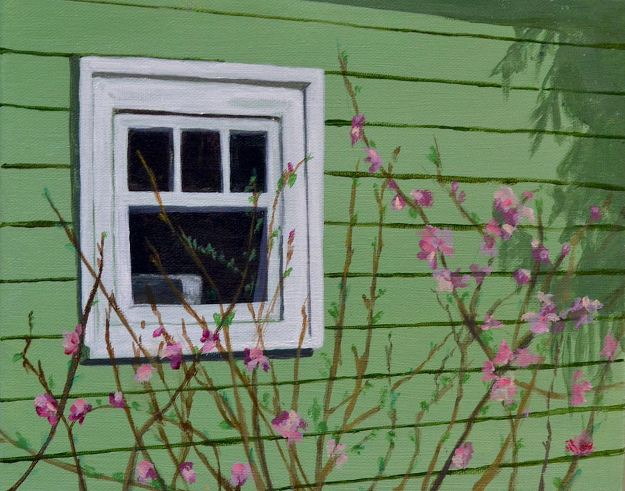 Green Painting - Green Garage in Spring by Mary Chant