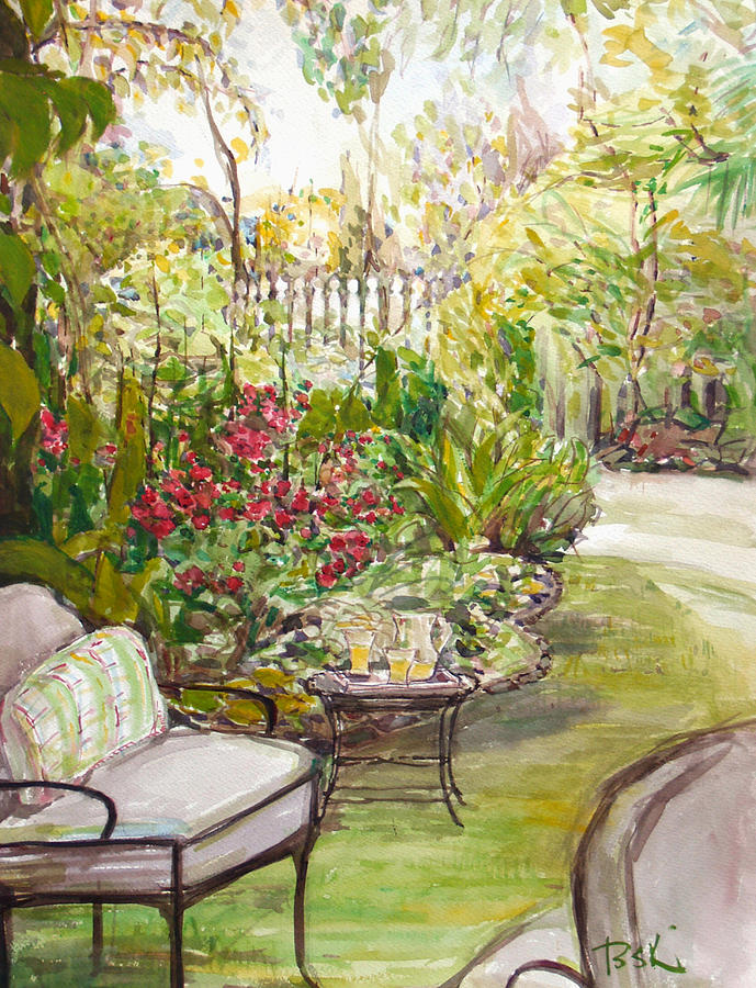 Watercolor Painting - Green Garden  by Becky Kim