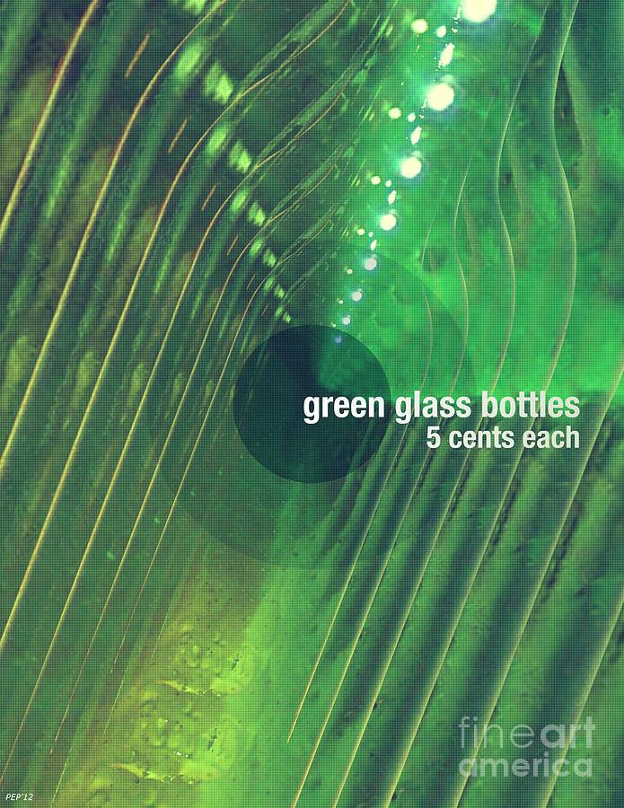 Green Photograph - Green Glass Bottles by Phil Perkins
