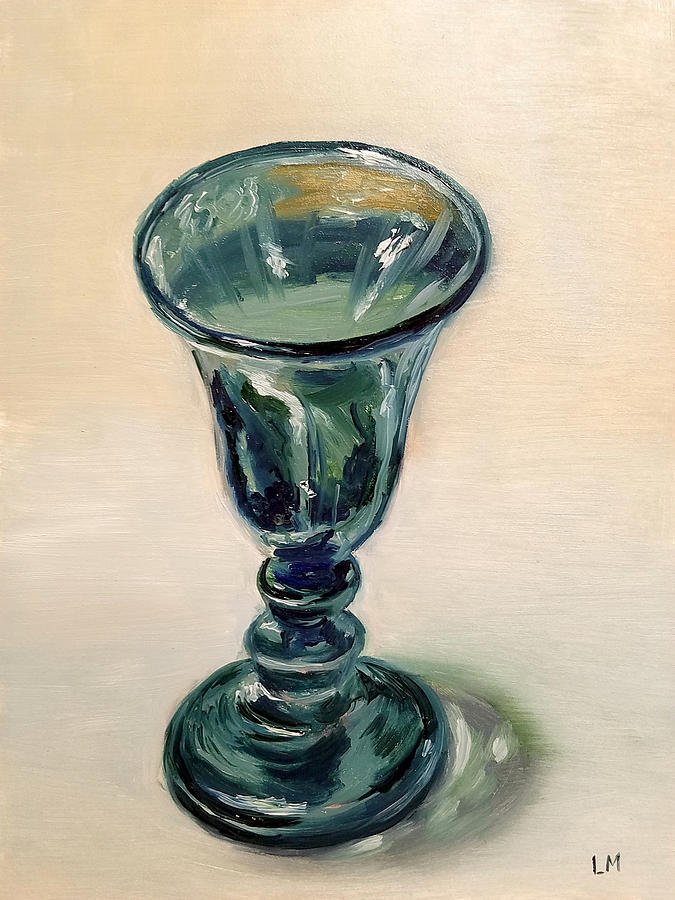 Oil Painting - Green Glass Goblet by Linda Merchant