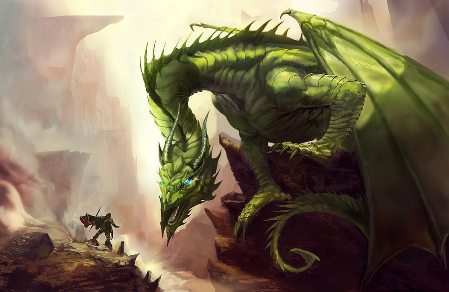 Green Painting - Green God Dragon by Anthony Christou