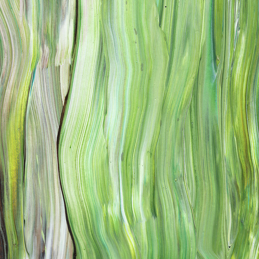 Green Gray Organic Abstract Art For Interior Decor Vi Painting