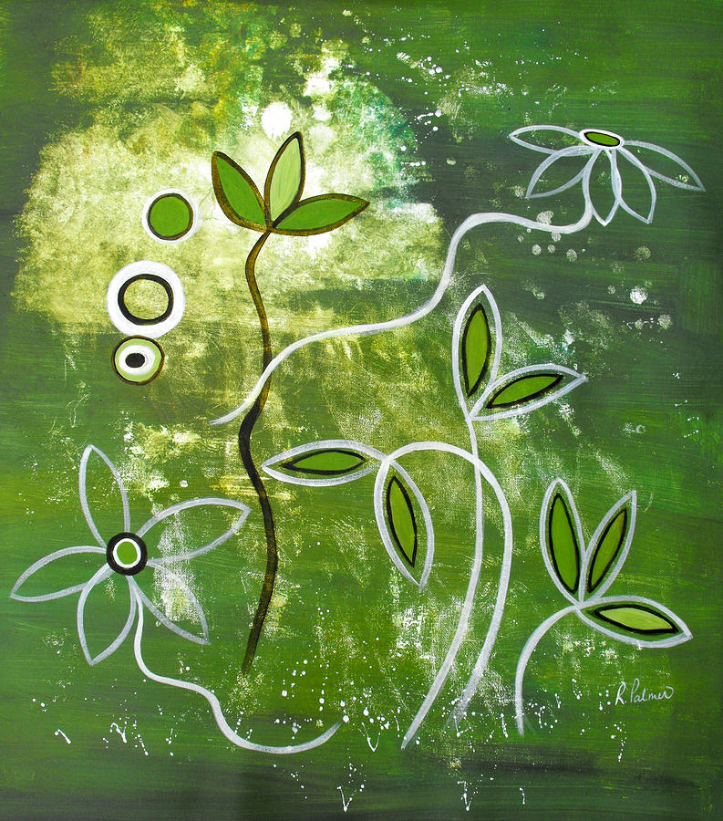 Abstract Painting - Green Growth by Ruth Palmer
