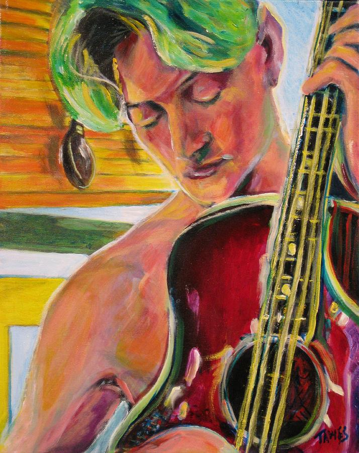 Boy Painting - Green Hair Red Bass by Dennis Tawes
