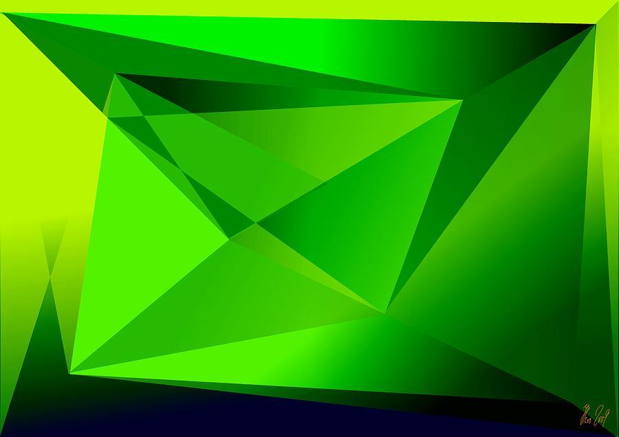 Pyramiden Digital Art - Green by Helmut Rottler