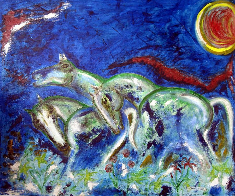 Horse Painting - Green Horses by Narayanan Ramachandran