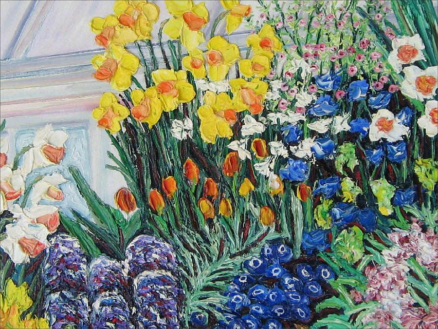 Flowers Painting - Green House Flowers by Richard Nowak