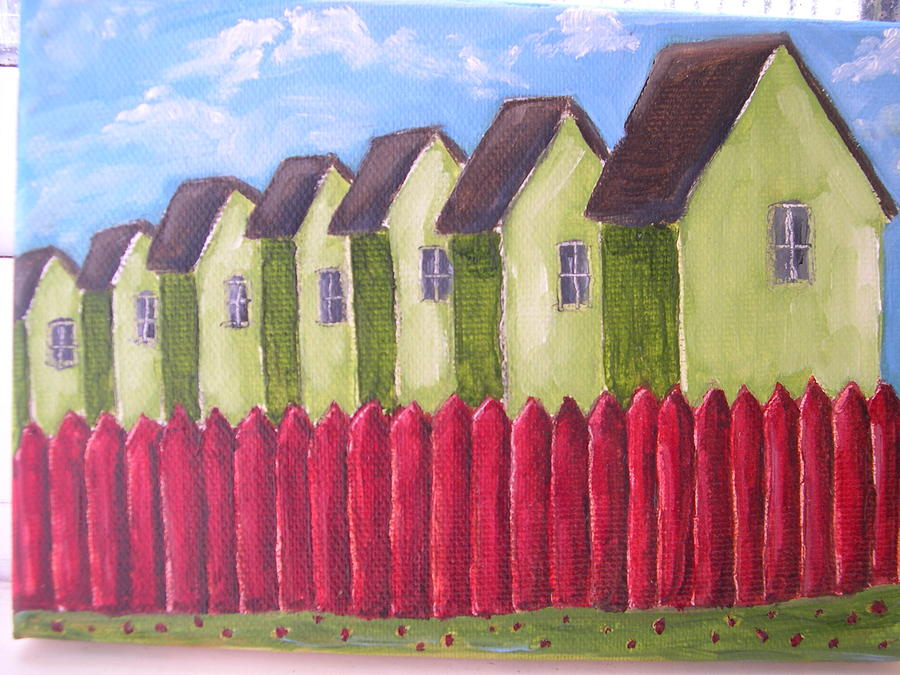 Green Painting - Green Houses With Red Fences by Tara Lewis
