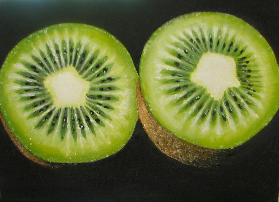 Kiwi Painting - Green Kiwi Oil Painting  by Natalja Picugina