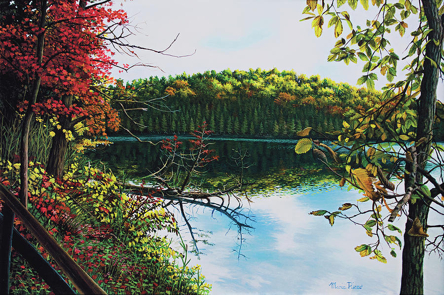 Fall Foliage Painting - Green Lakes by Maria Rizzo