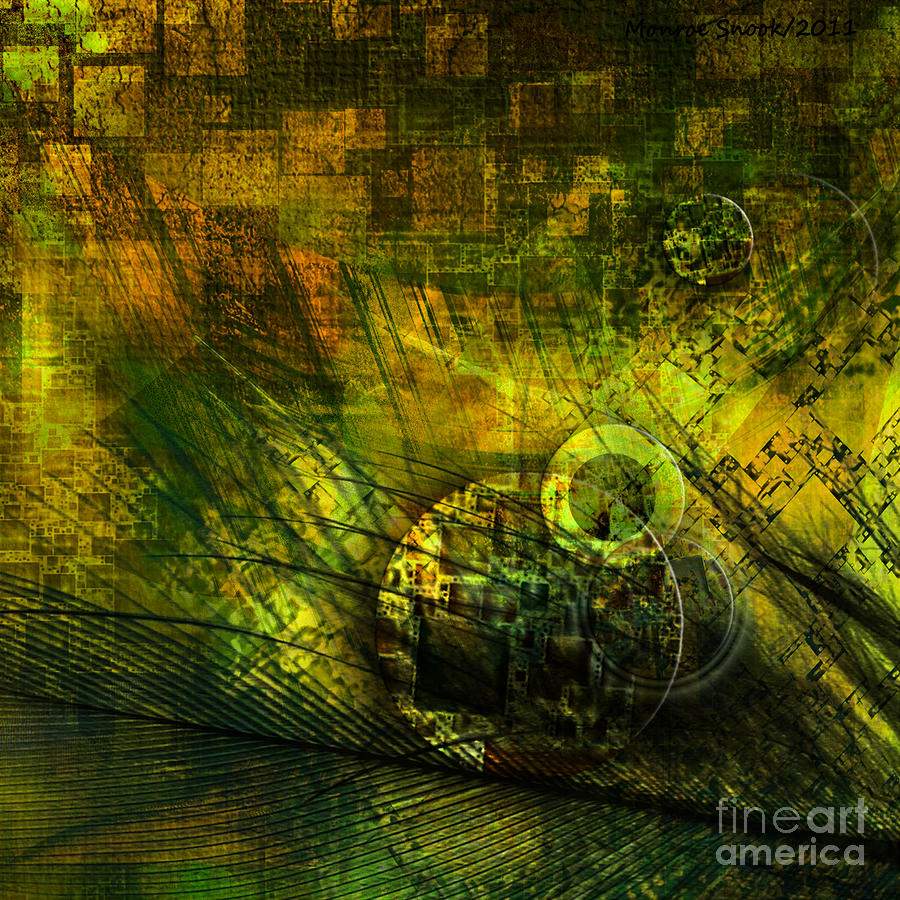 Abstraction Digital Art - Green Lantern by Monroe Snook