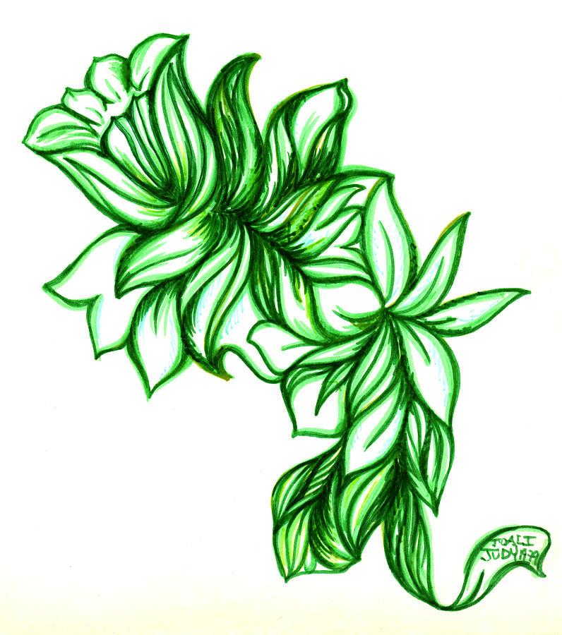 Green Leaves Drawing by Judith Herbert