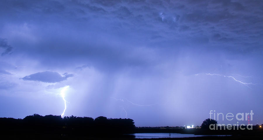 Green Photograph - Green Lightning Bolt Ball And Blue Lightning Sky by James BO  Insogna