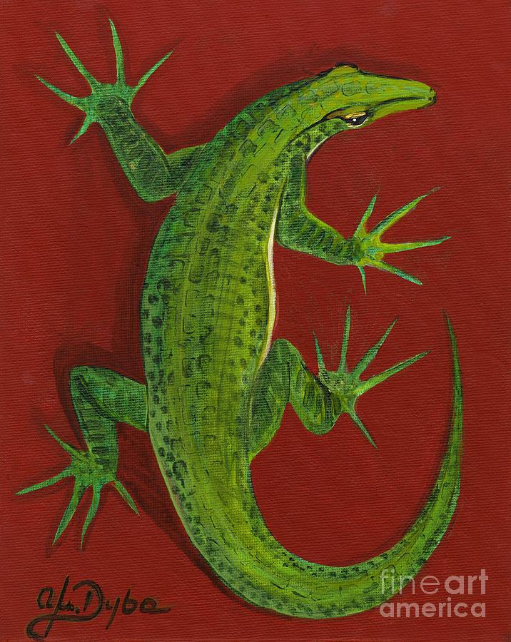 Lizard Painting - Green Lizard by Anna Folkartanna Maciejewska-Dyba