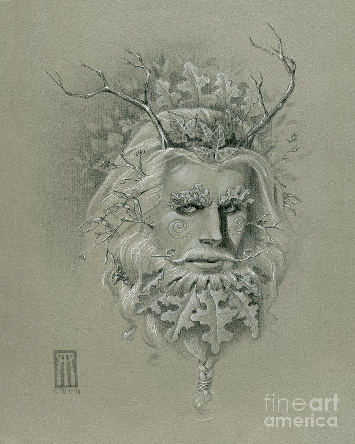 Green Man on Halftone Paper by Melissa A Benson