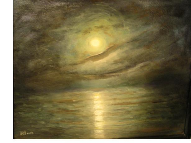Moon Painting - Green Moon by Eileen Anderson
