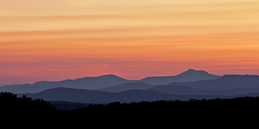 Green Mountain Sunset Panorama Photograph