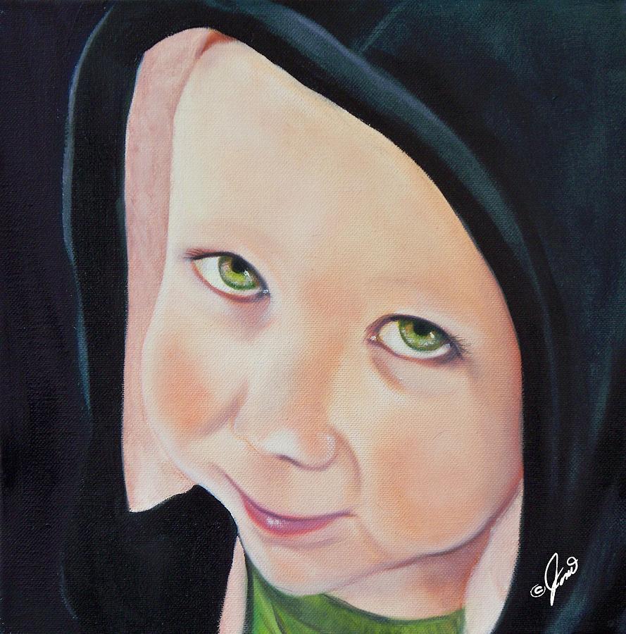 Portrait Painting - Green Munchkin by Joni McPherson