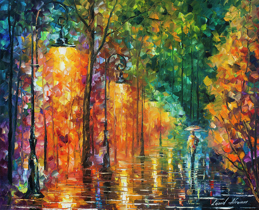 Painting Painting - Green Night  by Leonid Afremov