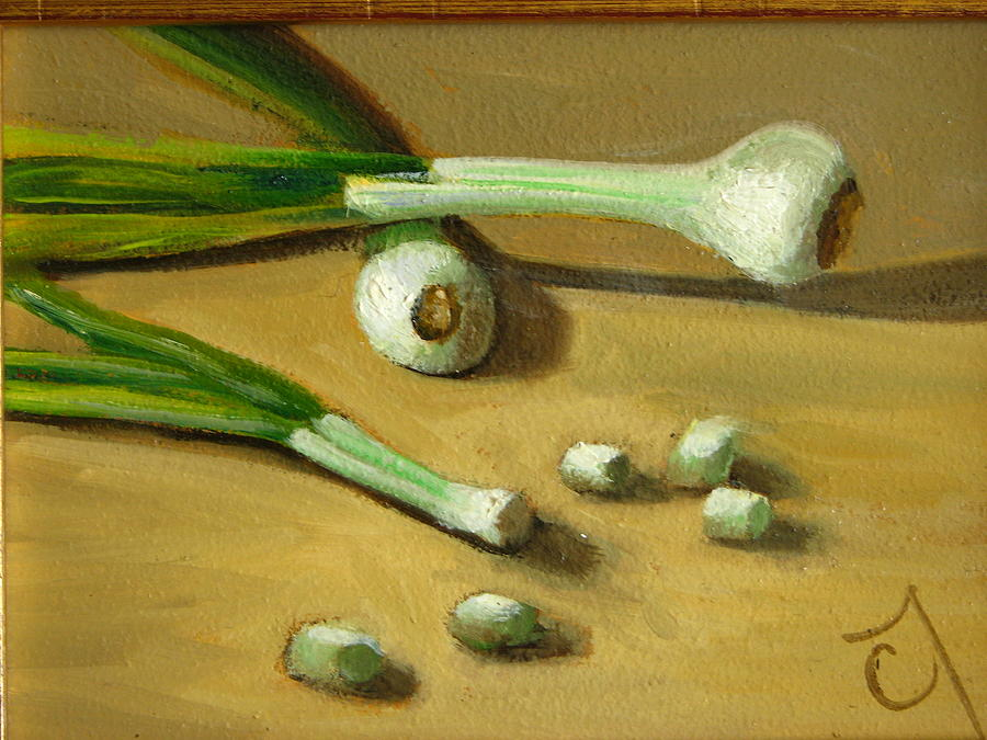 Still Life Painting - Green Onions by Cary  Jurriaans