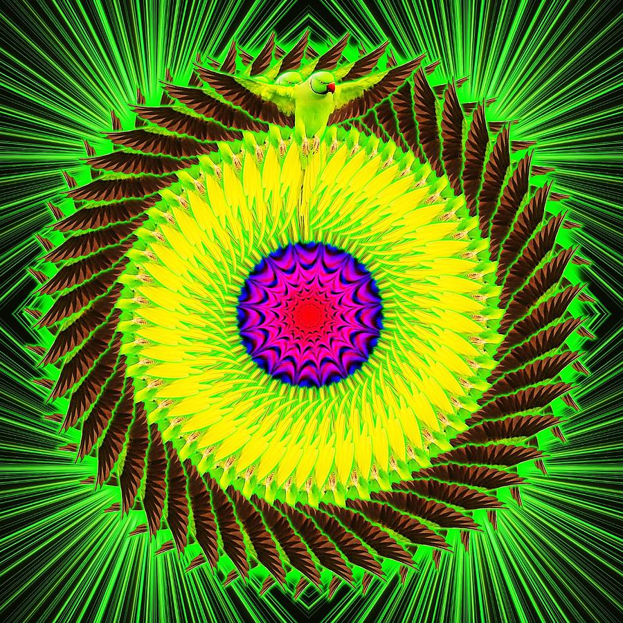 Green Digital Art - Green Parrot Mandala by The Awakening Art