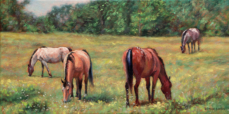 Green Pastures - Horses Grazing In A Field Painting by ...