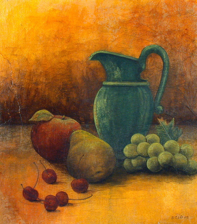 Still Life Painting - Green Pitcher by Sandy Clift