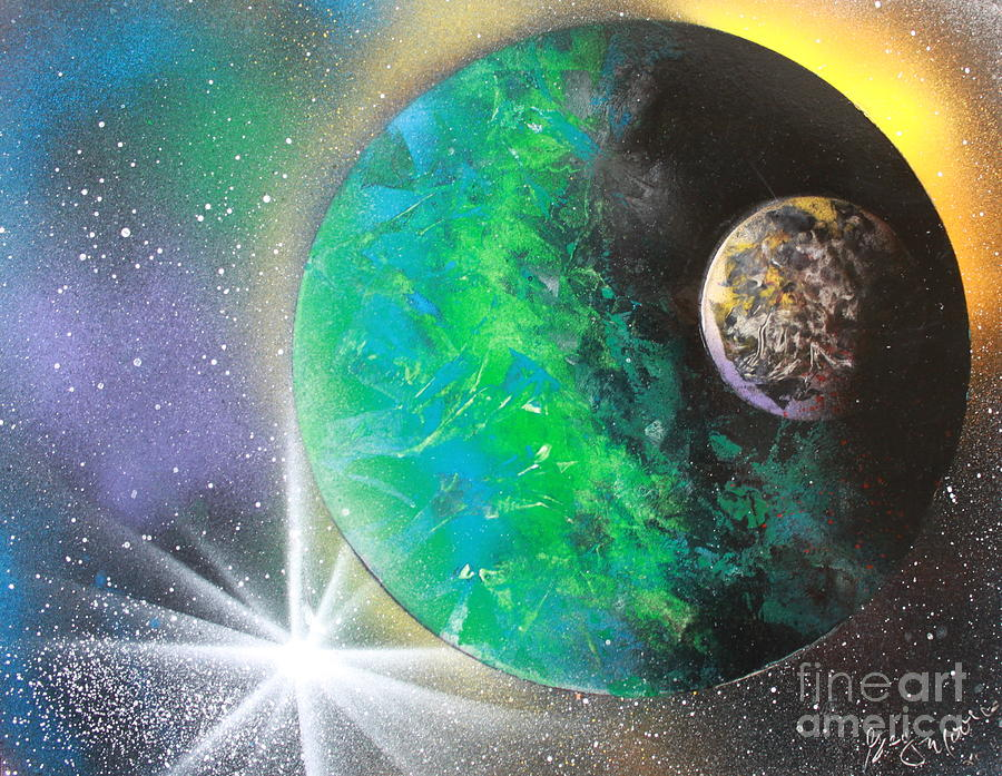 Planets Painting - Green Planet 4672 by Greg Moores