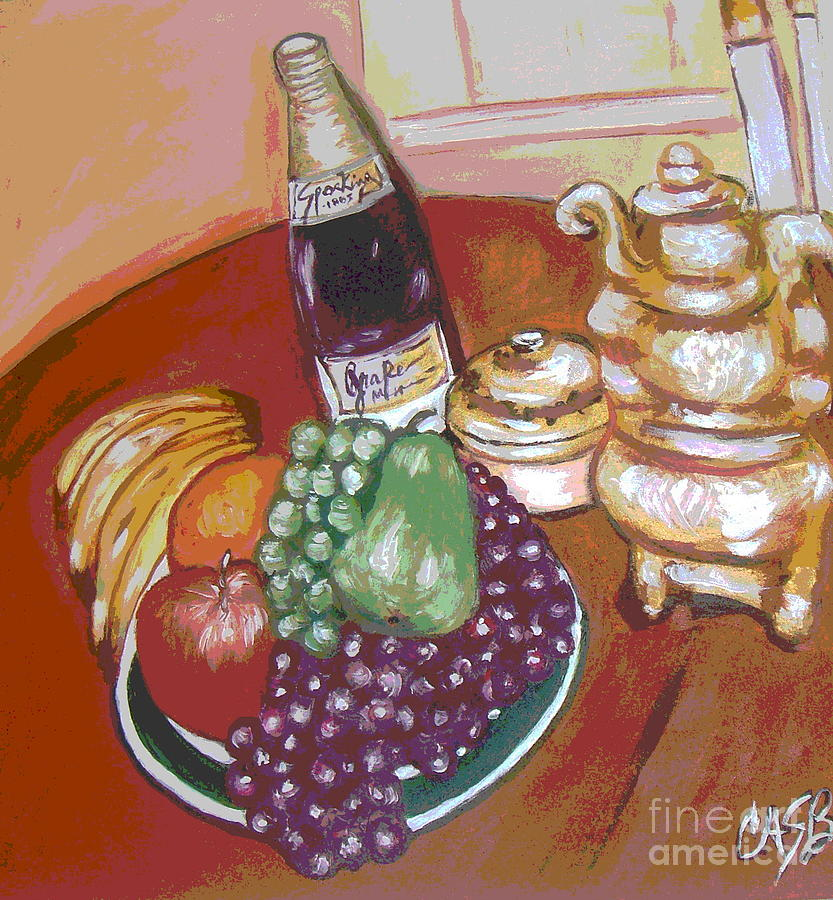 Green Plate Painting - Green Plate Of Fruit by Clara Spencer