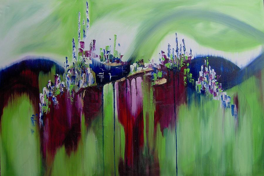 Green Purple Mountain Painting by Pia Malmstrup