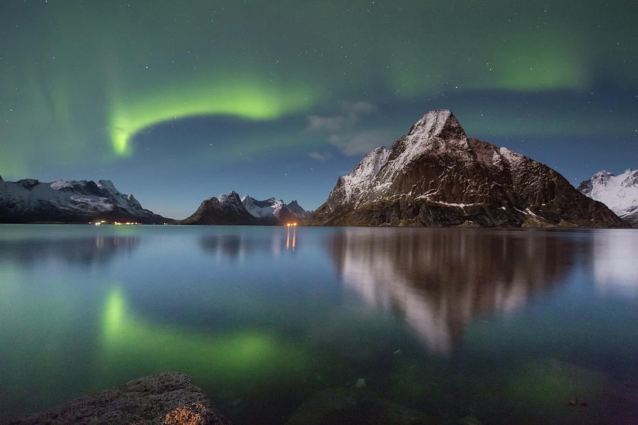 Aurora Photograph - Green Reflection by Alex Conu