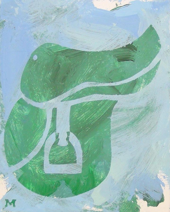 Horse Painting - Green Saddle by Candace Shrope