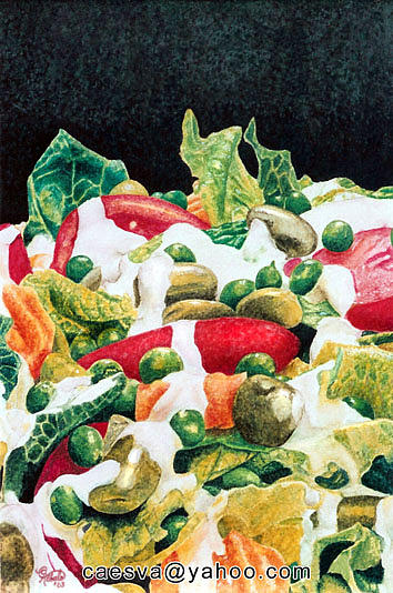 Green Salad Painting by Carlos Esquivel