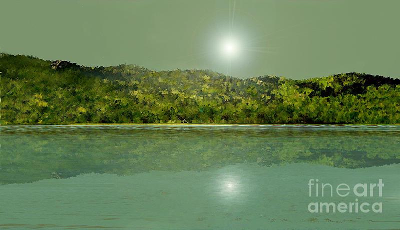 Landscape Digital Art - Green Sea by Aline Pottier  Gama Duarte