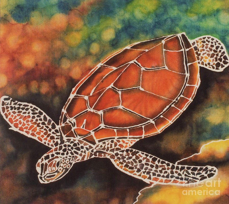 Sea Turtle Tapestry - Textile - Green Sea Turtle by Jacqueline Phillips-Weatherly