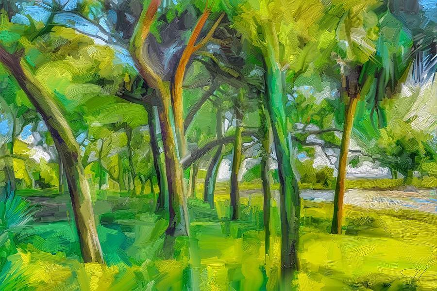 Green Shore Trees Digital Art by Scott Waters