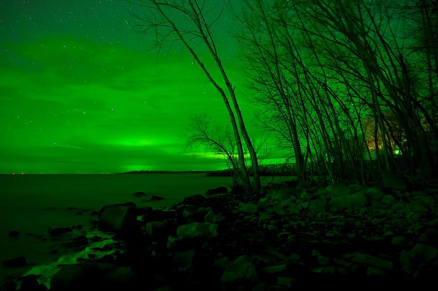 Green Photograph - Green Skies -Northern Lights by Nikki Vig