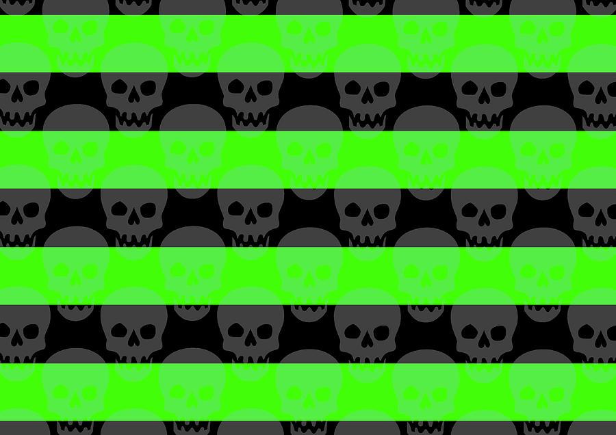 Green Skull Stripes Digital Art