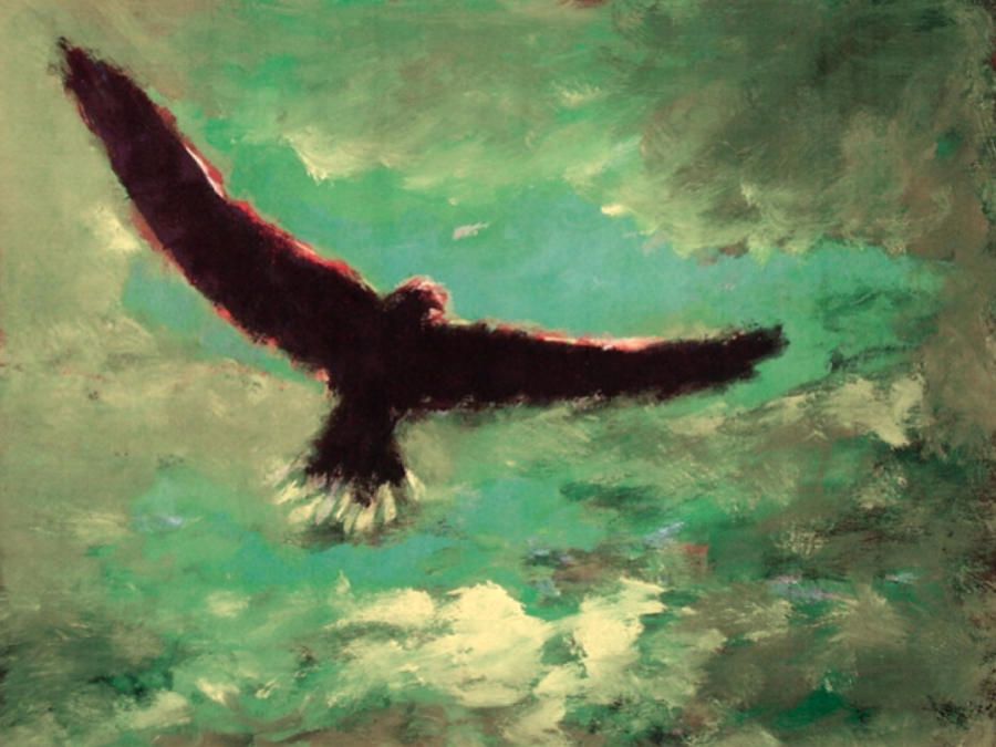 Eagle Painting - Green Sky by Enrico Garff